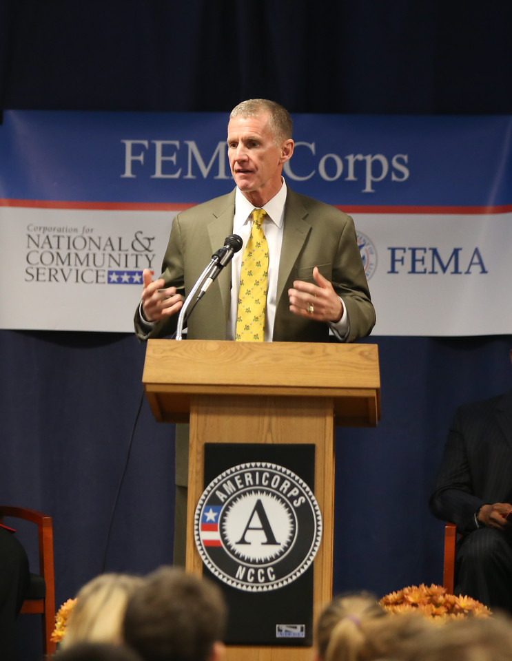 General Stanley A. McChrystal speaks at FEMA Corps graduation event in Sacramento, CA. Corporation for National and Community Service Photo.