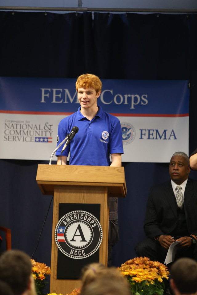 Pierson Phelan speaking at the FEMA Corps graduation in Sacramento, CA.Corporation for National and Community Service Photo.