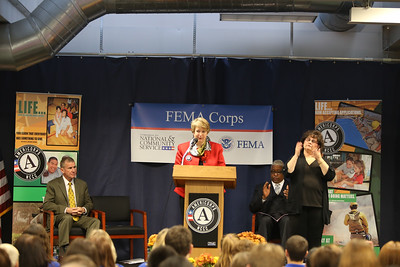 CNCS, CEO Wendy Spencer speaks at FEMA Corps graduation event in Sacramento, CA. Corporation for National and Community Service Photo.