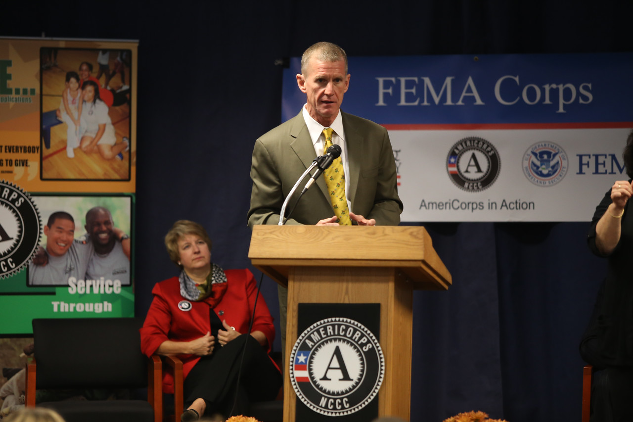 General (Ret.) Stanley A. McChrystal speaks at FEMA Corps graduation event in Sacramento, CA. Corporation for National and Community Service Photo.
