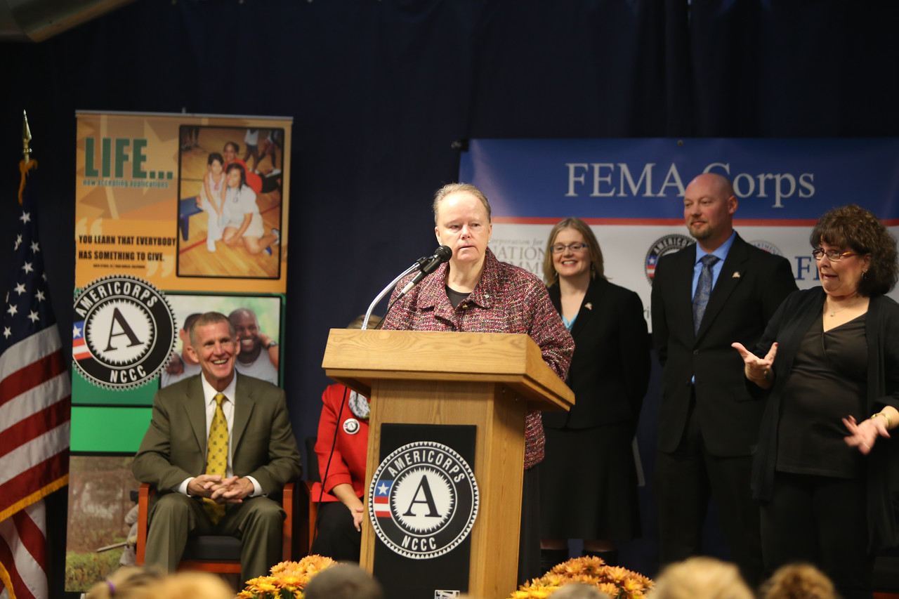 Director of AmeriCorps NCCC, Kate Raftery speaks at the FEMA Corps graduation. Corporation for National and Community Service Photo.