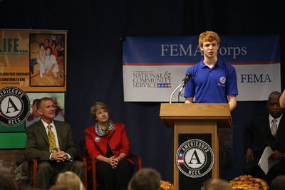 Pierson Phelan speaking at the FEMA Corps graduation in Sacramento, CA. Corporation for National and Community Service Photo.
