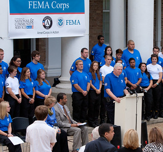 FEMA Deputy Administrator, Richard Serino addresses the press before induction of the inaugural class. Corporation for National and Community Service Photo.
