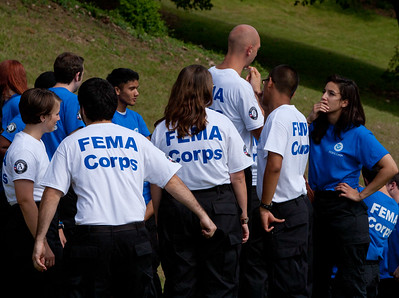 FEMA Corps members huddling before induction. Corporation for National and Community Service Photo.