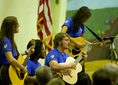 """Ameri-Band"" plays a song in closing at the induction. Corporation for National and Community Service Photo."