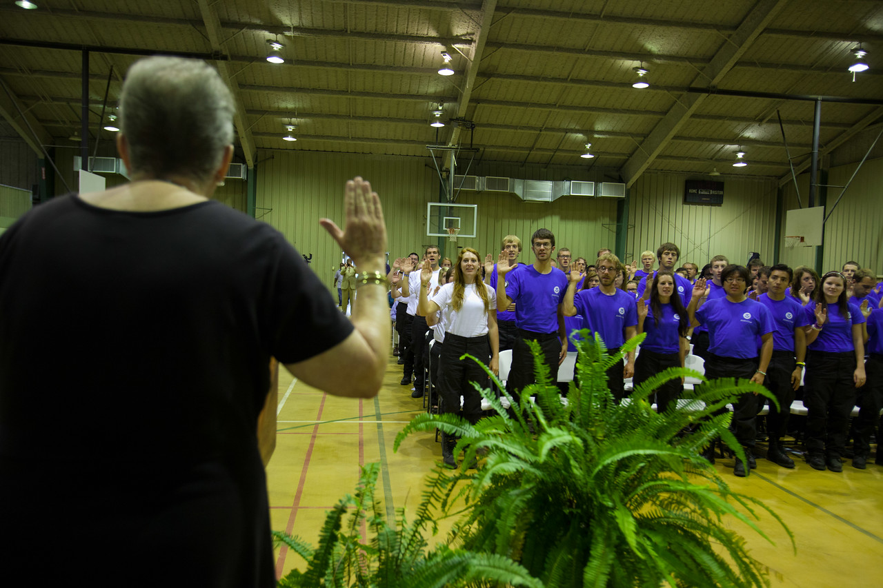 NCCC National Director, Kate Raftery leads FEMA Corps members in the pledge. Corporation for National and Community Service Photo.