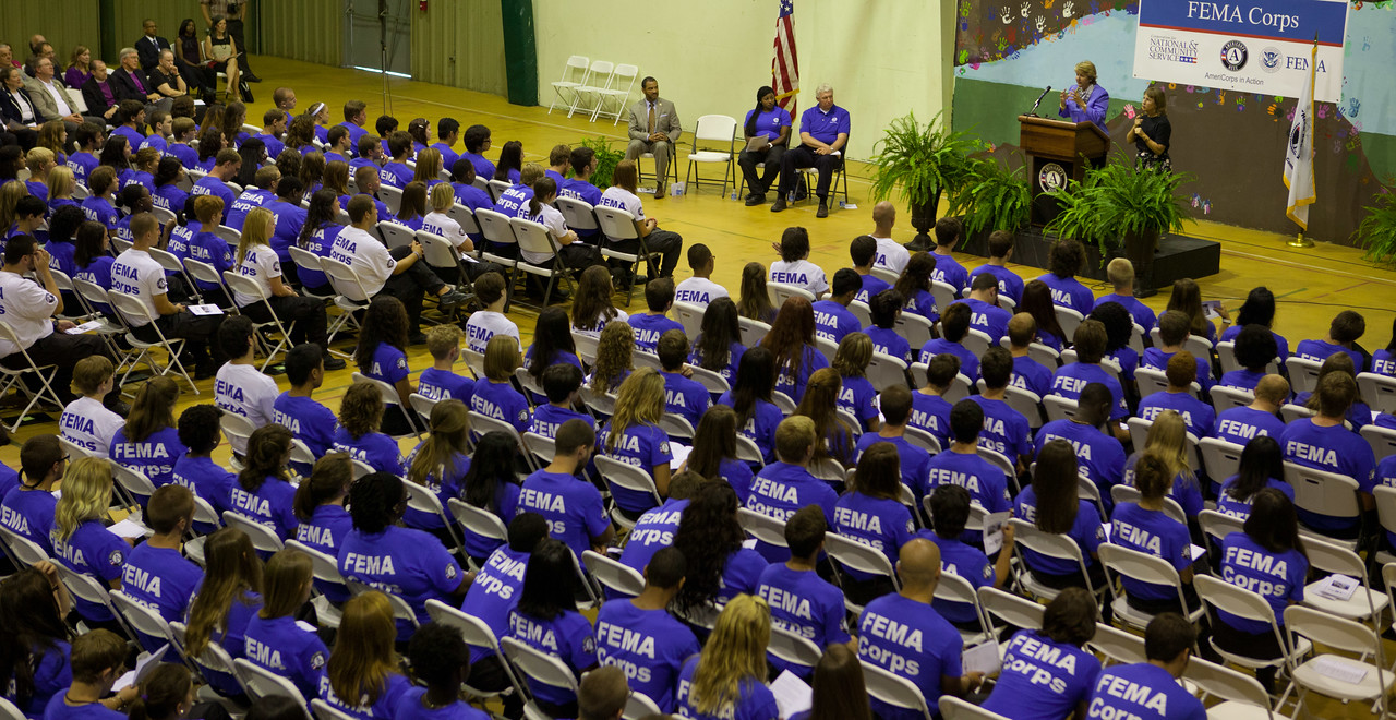 FEMA Corps members listen to CNCS CEO, Wendy Spencer at their inaugural induction. Corporation for National and Community Service Photo.