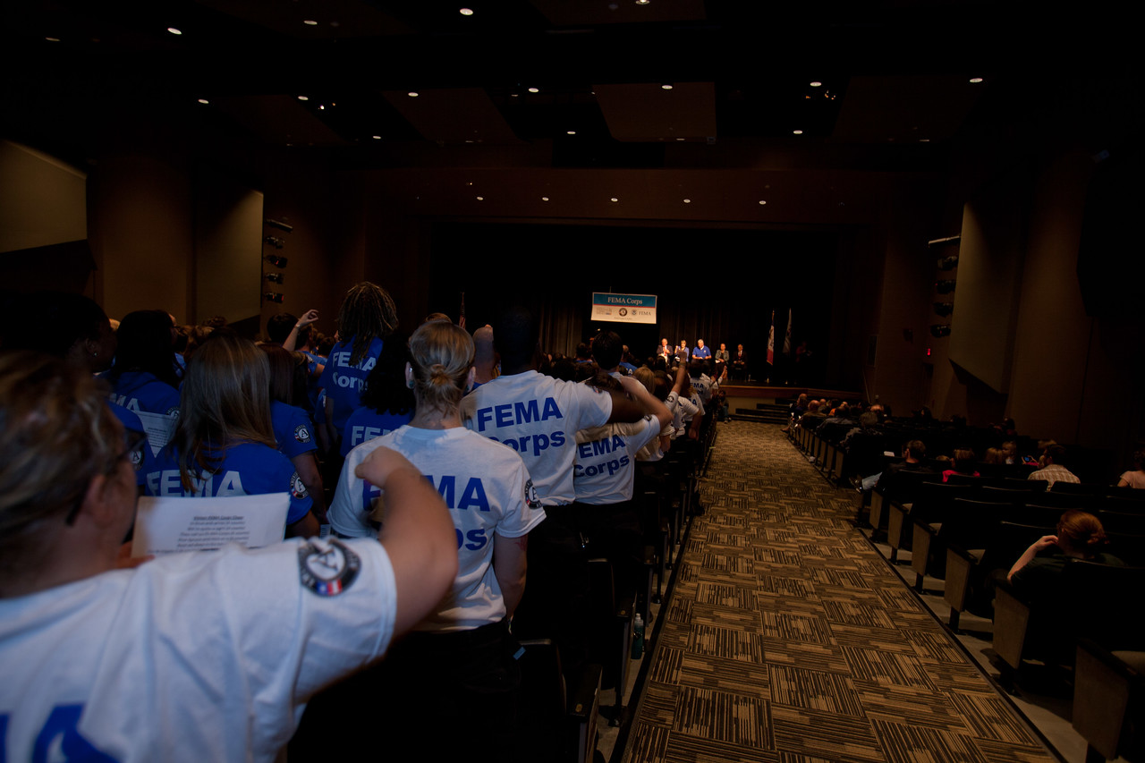 FEMA Corps members listen to speakers during induction. Corporation for National and Community Service Photo.