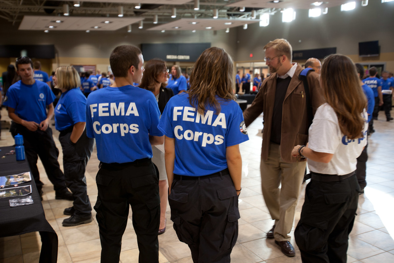 FEMA Corps members gather in auditorium before induction. Corporation for National and Community Service Photo.