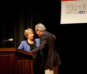 CNCS CEO, Wendy Spencer welcomes Sen. Tom Harkin (IA). Corporation for National and Community Service Photo.