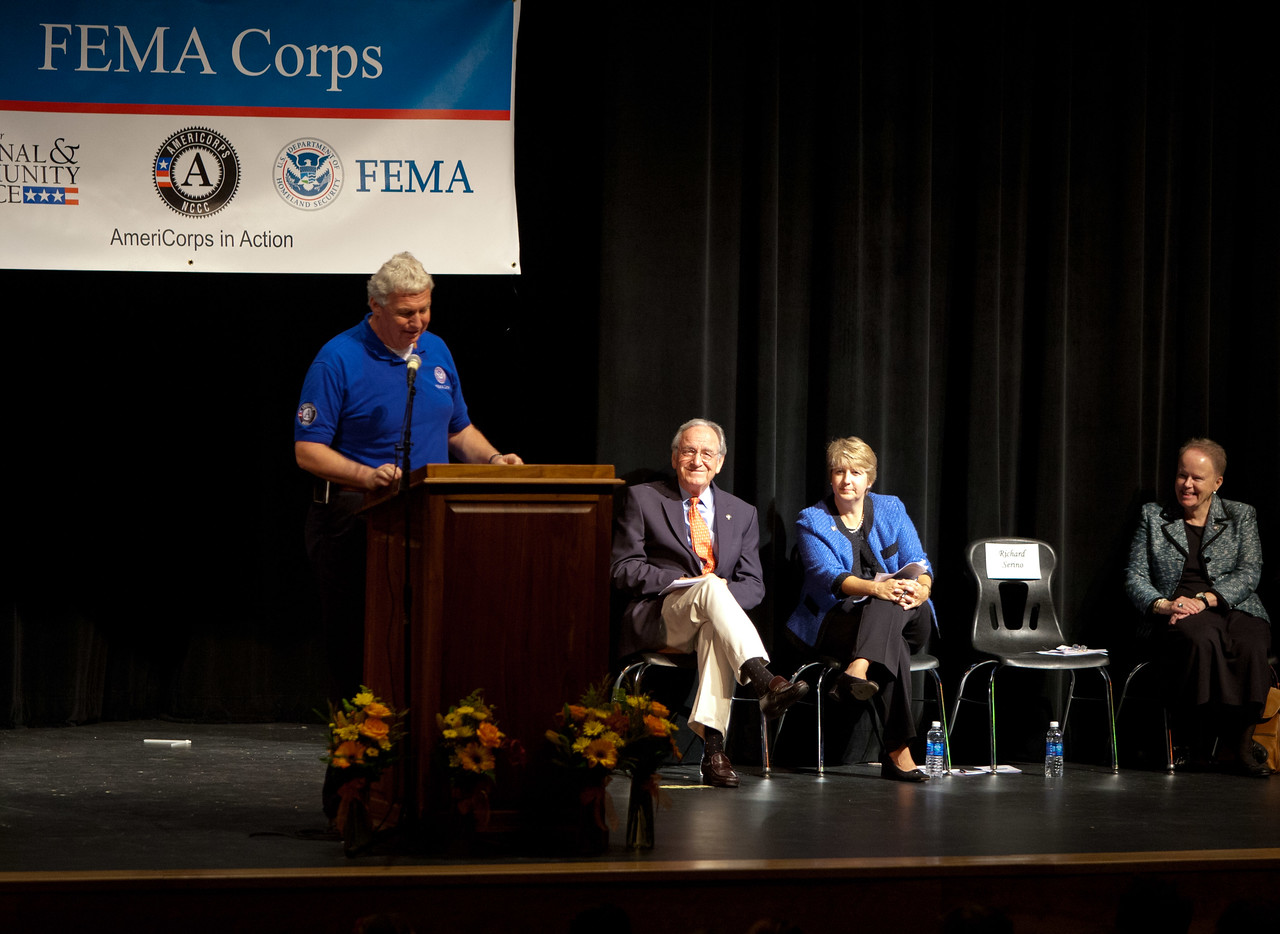 FEMA Deputy Administrator, Rich Serino. (L-R) Sen. Tom Harkin (IA), CNCS CEO, Wendy Spencer, NCCC Director, Kate Raftery. Corporation for National and Community Service Photo.