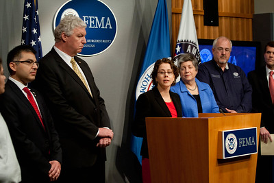 Cecilia Munoz, Director of the White House Domestic Policy Council(speaking), Left to Right, Robert Velsaco II, Acting CEO, Corporation for National and Community Service, Richard Serino,  Deputy Administrator, FEMA, Janet Napolitano, Secretary of Homeland Security, Craig Fugate, Administrator, FEMA, Walter Maddox, Mayor of Tuscaloosa . Corporation for National and Community Service Photo