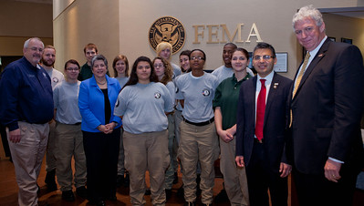 left to right - Craig Fugate, Administrator, FEMA, Janet Napolitano, Secretary of Homeland Security, Robert Velsaco II, Acting CEO, Corporation for National and Community Service, Richard Serino, Deputy Administrator, FEMA, (behind) AmeriCorps NCCC members.  Corporation for National and Community Service Photo.
