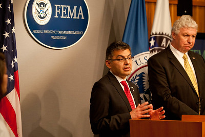 Robert Velsaco II, Acting CEO, Corporation for National and Community Service (speaking), Richard Serino, Deputy Administrator, FEMA. Corporation for National and Community Service Photo.