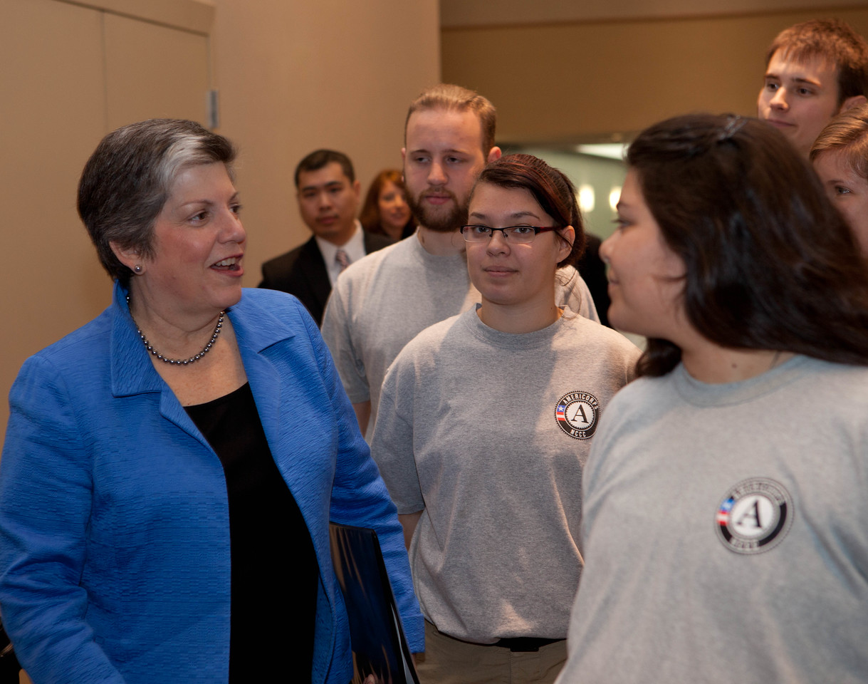Janet Napolitano, Secretary of Homeland Security, AmeriCorps NCCC members. Corporation for National and Community Service Photo.