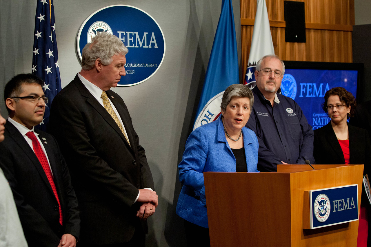 Janet Napolitano, Secretary of Homeland Security (speaking), Left to Right, Robert Velsaco II, Acting CEO, Corporation for National and Community Service, Richard Serino, Deputy Administrator, FEMA, Craig Fugate, Administrator, FEMA, Cecilia Munoz, Director of the White House Domestic Policy Council. Corporation for National and Community Service Photo