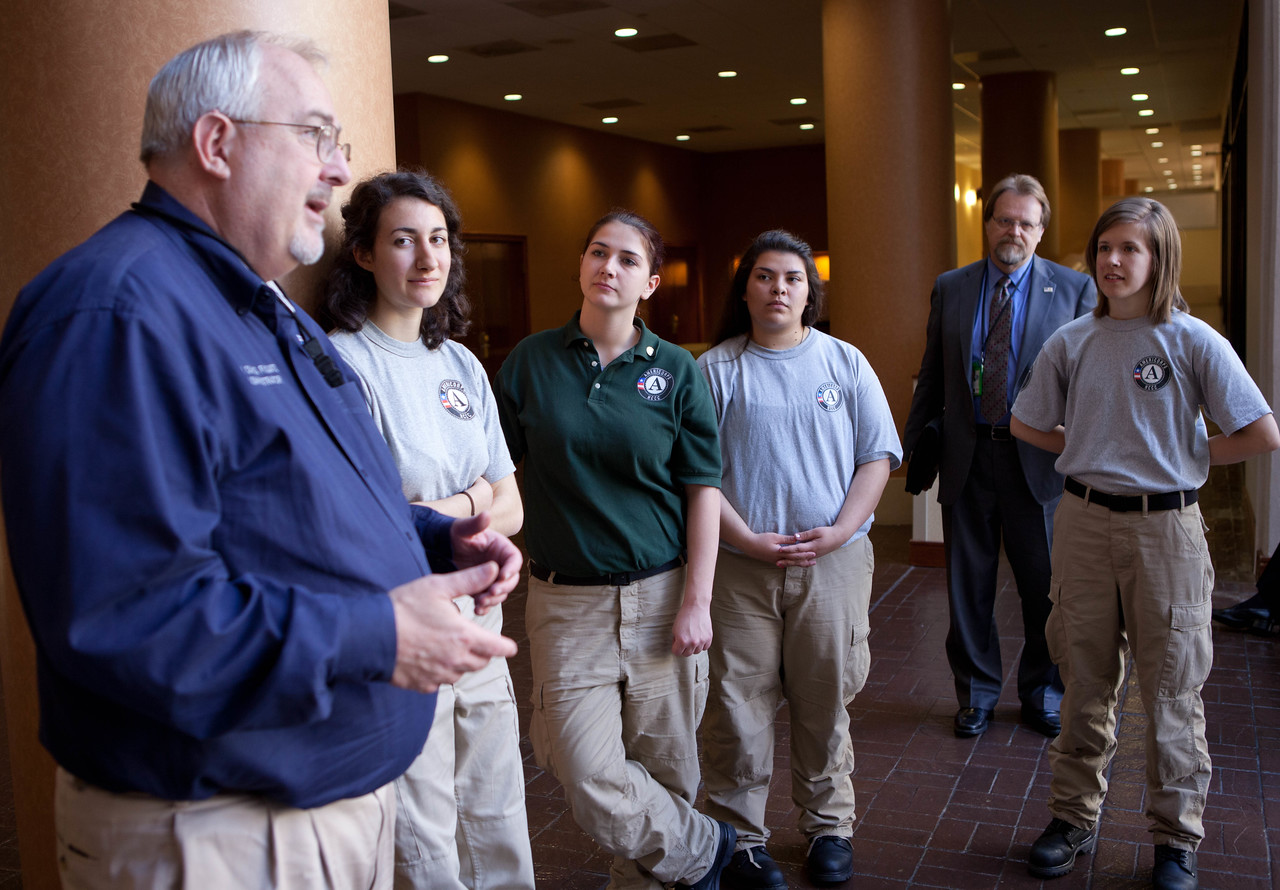 Craig Fugate, Administrator, FEMA (speaking), AmeriCorps NCCC members. Corporation for National and Community Service Photo.