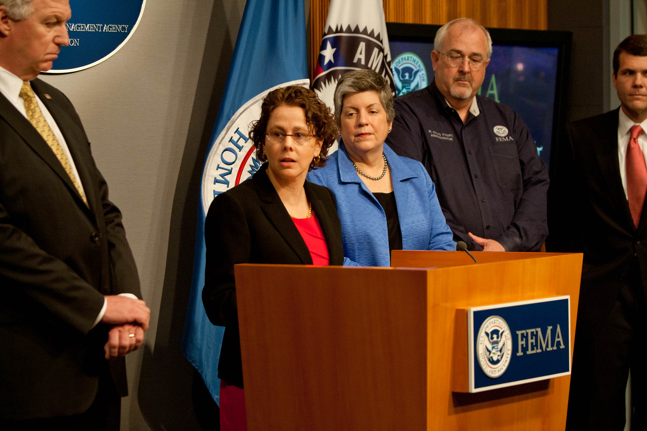 Cecilia Munoz, Director of the White House Domestic Policy Council (speaking), left to right - Richard Serino, Deputy Administrator, FEMA,  Janet Napolitano, Secretary of Homeland Security, Craig Fugate, Administrator, FEMA, Walter Maddox, Mayor of Tuscaloosa.  Corporation for National and Community Service Photo.