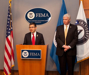 Robert Velsaco II, Acting CEO, Corporation for National and Community Service (speaking), Richard Serino, Deputy Administrator, FEMA