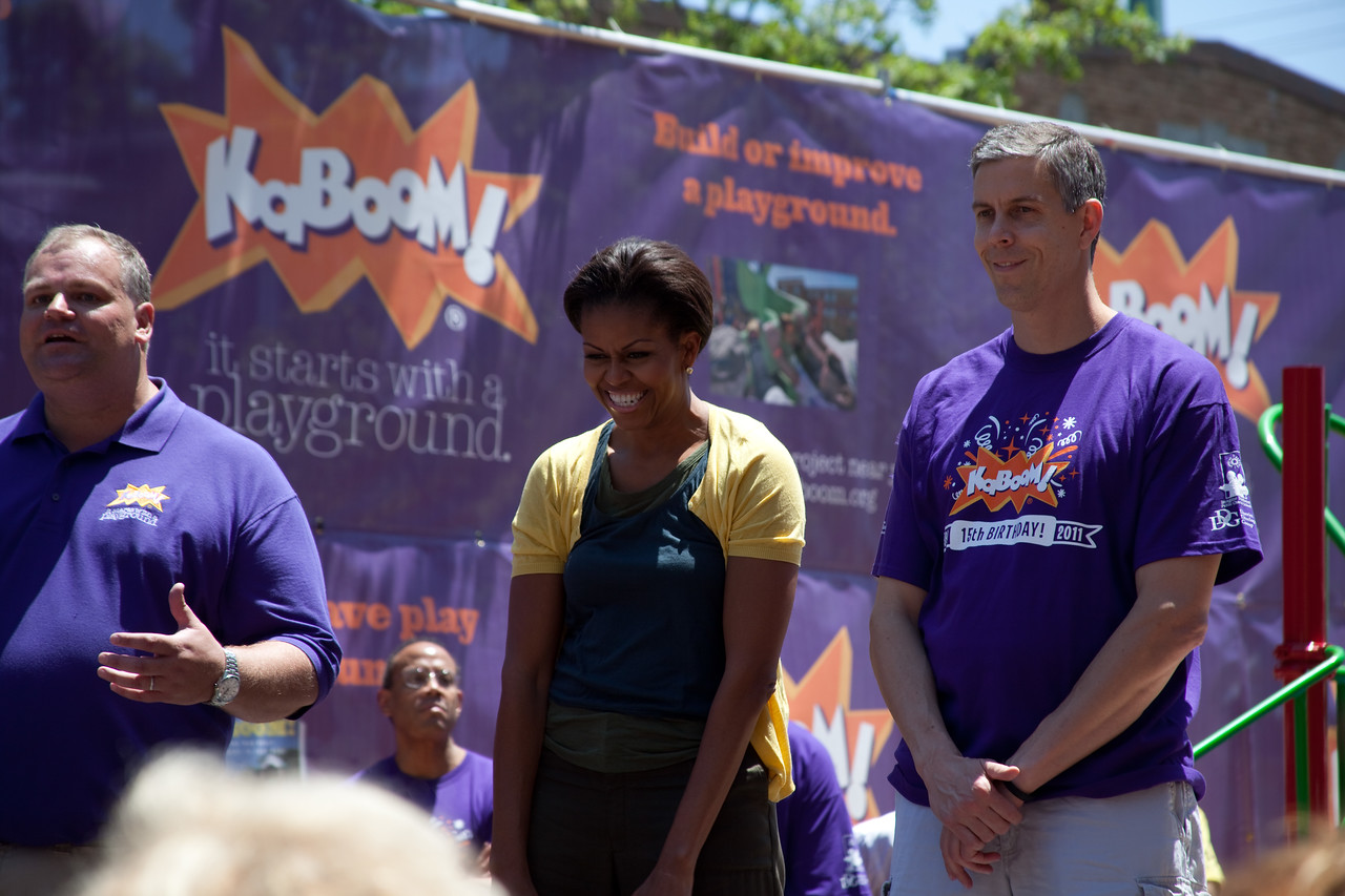 (L-R) CEO and Founder, KaBOOM, Darell Hammond, First Lady Michelle Obama, Secretary of Education, Arne Duncan. On Wednesday, the Corporation for National and Community Service joined First Lady Michelle Obama, U.S. Secretary of Education Arne Duncan, Members of Congress and their spouses, along with AmeriCorps members and over 150 volunteers for the annual Congressional Day of Service event at a KaBOOM! event. Corporation for National and Community Service Photo.