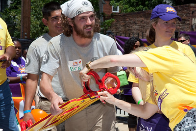 Ben, an AmeriCorps NCCC member participates in a KaBOOM! playground build in Washington, DC on June 15, 2011. On that day, the organization celebrated it's15th Birthday with it's 200th playground build.