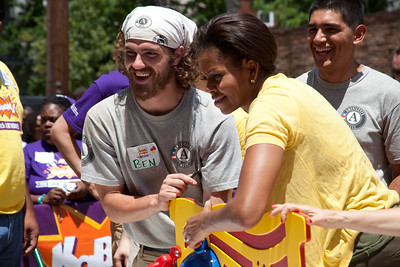 AmeriCorps NCCC member and First Lady of the United States of America, Michelle Obama. Corporation for National and Community Service Photo.