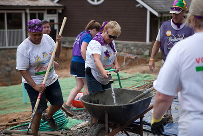 Volunteers mix cement for the playground at the NIH KaBOOM! build. Corporation for National and Community Service Photo