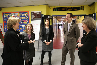 CNCS CEO Wendy Spencer talks with Tom Dillon, Co-Executive Director, The Literacy Lab,  (L-R) Ashley Johnson, Co-Executive Director, The Literacy Lab, VP of Reading Corps National Replication, ServeMinnesota Sadie O'Conner and Chief Executive Officer ServeMinnesota Audrey Suker. at C.W. Harris Elementary School in Washington, D.C. Corporation for National and Community Service Photo.