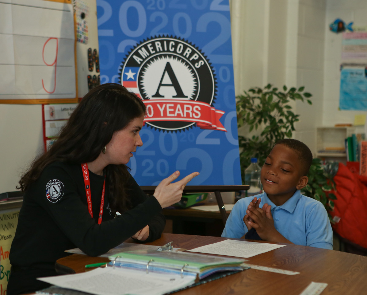 Reading intervention facilitated by AmeriCorps member and Metro DC Reading Corps tutor, Sabrina Poms at C.W. Harris Elementary School in Washington, D.C. Corporation for National and Community Service Photo.