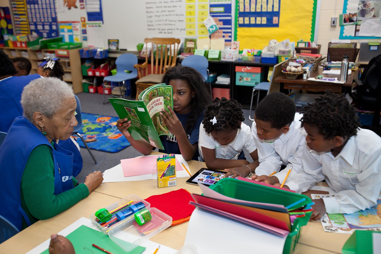 Students working on arts and crafts with Foster Grandparents at Miner Elementary School in Washington, D.C. Corporation for National and Community Service Photo.Corporation for National and Community Service Photo.