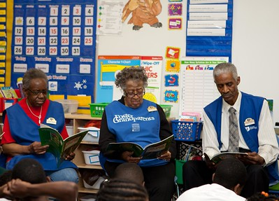 Foster Grandparents reading to students at Miner Elementary School. Corporation for National and Community Service Photo.