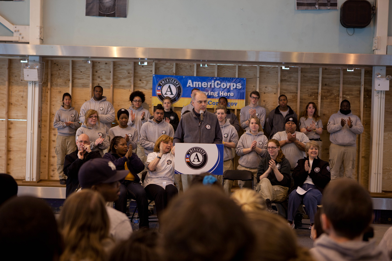 Director of AmeriCorps, Bill Basl speaking at the kick-off event. Corporation for National and Community Service Photo.