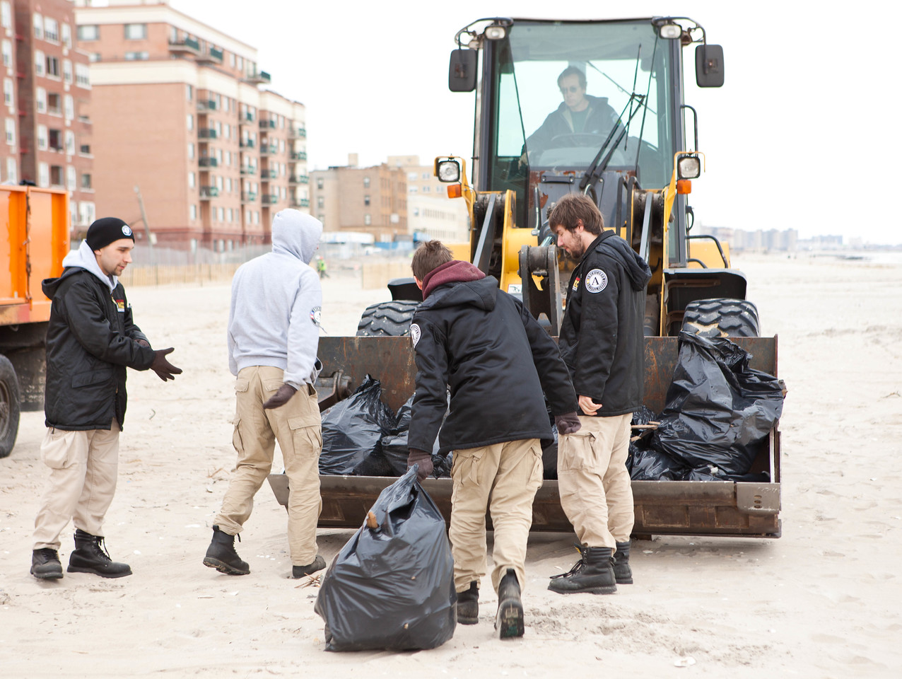 AmeriCorps members help with a cleanup project at New York's Rockaway Beach during a 2013 AmreiCorps Week project on March 16, 2013. (Corporation for National and Community Service Photo)