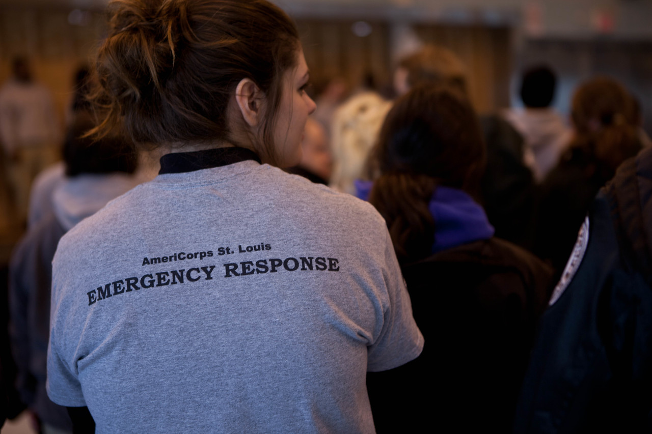 AmeriCorps, St. Louis, Emergency Response team at the kick-off event. Corporation for National and Community Service Photo.