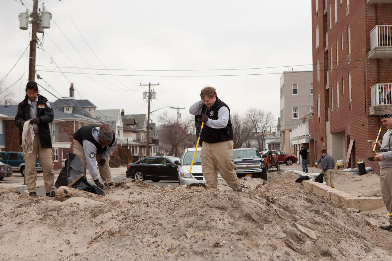 AmeriCorps members serving at Rockaway beach. Corporation for National and Community Service Photo.