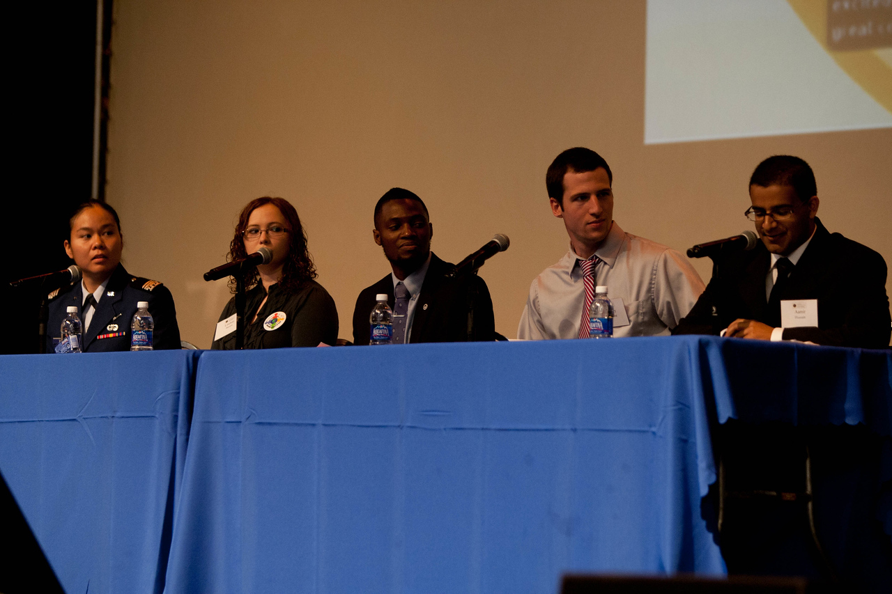 Opening Plenary - Howard University, Cramton Auditorium. Student Panel - (L-R) U.S. Air Force Academy, Jessica Wong, Tennessee Technical, Lindsay Elizabeth Barnes, Howard University, David Johnson Jr., University of Illinois Gregory Damhorst, Georgetown University, Aamir Hussain. Corporation for National and Community Service Photo.