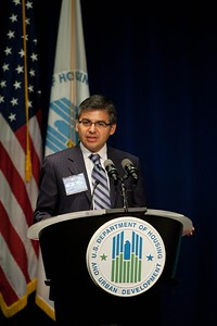 Robert Velasco, II, Acting CEO of the Corporation for National and Community Service, speaks at an event at the Department of Housing and Urban Development. Corporation for National and Community Service Photo.