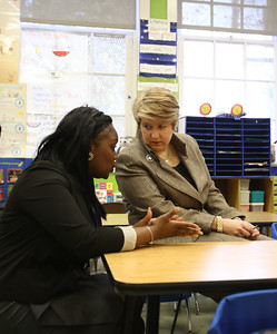 Rena Johnson, Principal, DC Scholars Stanton Elementary speaking with CNCS CEO Wendy Spencer at Stanton Elementary in Washington, D.C. Corporation for National and Community Service photo