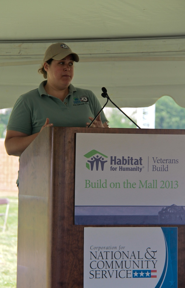 Emily Stock, Sr. Specialist at Habitat for Humanity International. Veterans Build on the Mall 2013. Corporation for National and Community Service Photo.