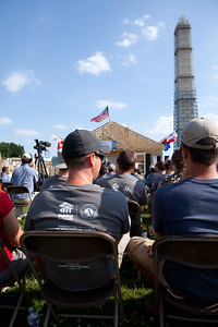 Audience before closing ceremony at the Veterans Build on the Mall 2013. Corporation for National and Community Service Photo.