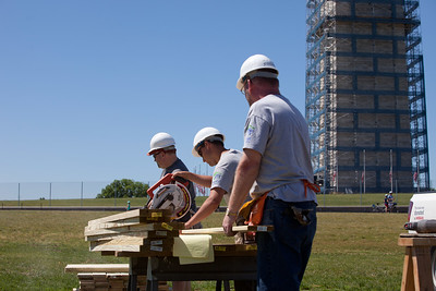 Volunteers working at the Veterans Build on the Mall 2013.Corporation for National and Community Service Photo.