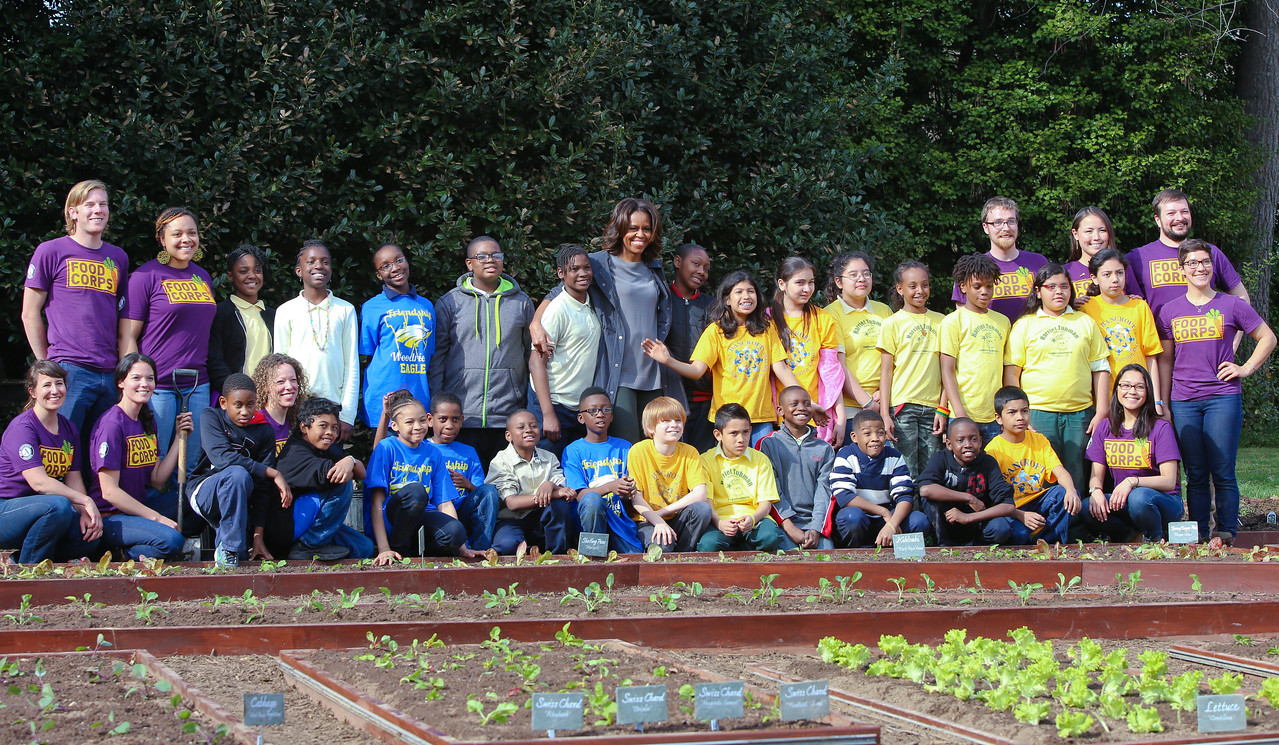 Fist Lady Michelle Obama, DC Public School students, AmeriCorps members serving with Food Corps. Corporation for National and Community Service Photo.