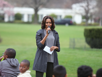First Lady Michelle Obama greeting DC Public school children on the South Lawn of the White House to kick off the 2014 Kitchen Garden. Corporation for National and Community Service Photo.