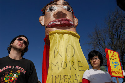 'No More Imperialist Wars'; 'US Keep Your Hands Off Venezuela'