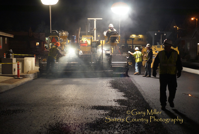 Night paving operations on Hwy 20 conducted by Knife River Construction during the Cascade Avenue reconstruction project in downtown Sisters on April 11, 2013 © 2013 Gary N. Miller, Sisters Country Photography