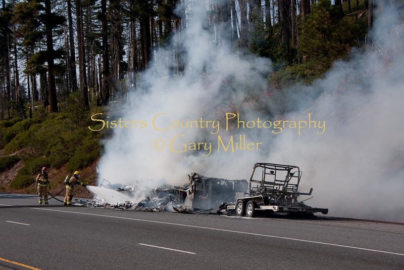 A nearly new Class 'A' Motorhome towing a recreational vehicle burned to a melted skeleton of metal near the Mt. Washington viewpoint on the Highway 20's Santiam Pass near Sistere, OR on September 24th, 2009.