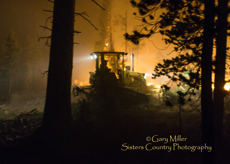Night operations on a fire line bordering the Sisters Wilderness. Images taken while working with a dozer crew on the Pole Creek Fire  on September 11, 2012 - Sisters, Oregon - Gary N. Miller - Sisters Country Photography