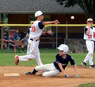 Aiden Myers, left, fires to first base after forcing Connor Rushing.