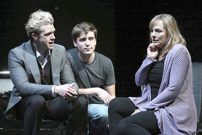 "L to R: Colte Julian (""Dr. Fine""/""Madden""), Josh Tolle (""Gabe""), and Susie McMonagle (""Diana"") star in NEXT TO NORMAL, running through October 6 at Drury Lane Theatre, 100 Drury Lane. For reservations call the Drury Lane Theatre box office at 630.530.0111, call TicketMaster at 800.745.3000 or visit www.drurylane.com. Photo Credit: Brett Beiner"
