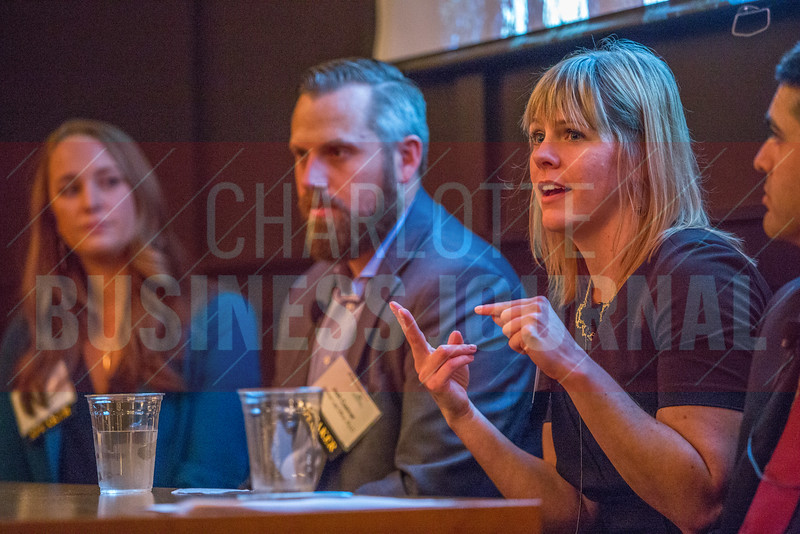 Cadie Jessup, Strategy Consultant at Wells Fargo (right), speaks alongside her fellow panelists at the NextGenCLT:Pivot event held at Olde Mecklenburg Brewery.